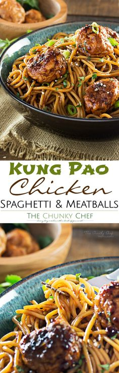 Kung-Pao-Chicken-Spaghetti-and-Meatballs | This version of Kung Pao chicken has all the flavors you'd expect from the classic dish, but in a comforting, homestyle spaghetti and meatballs package! | http://thechunkychef.com