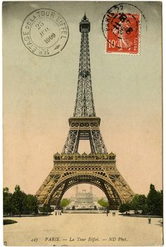 "Antique ""La Tour Eiffel"" postcard graphic."