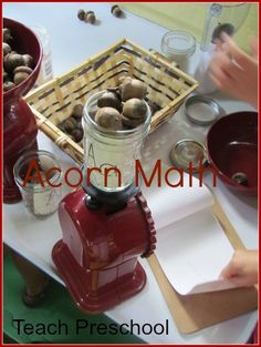 """Acorn Math:  counting, weighing, observing, recording acorns stored in jars labeled """"A"""":  a lot of activity to keep a preschooler busy."""