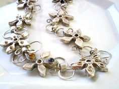 Silver Flower necklace Flower Jewelry Floral Necklace Gemstone Necklace Silver and Gold NecklaceSilver Stones NecklaceArtisan Necklace (540.00 USD) by rioritajewelry