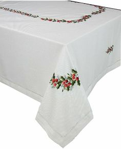 Xia Home Fashions Holly Berry Embroidered Hemstitch Holiday Tablecloth, 70-Inch by 120-Inch