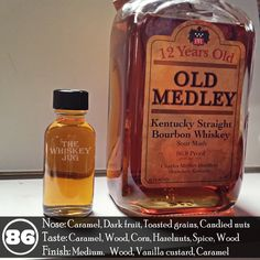 Old Medley 12 years ain't too bad at all. One might even reference it as being tasty when the mood is right. The aroma is interesting and nice as is the palate and the finish rolls out nicely as well. The texture is a little watery, but my biggest complaint is that It's pricy for what you get. Maybe I'm being a curmudgeon, but a 12 year bourbon shouldn't be clocking in at $70 after taxes unless it's some really tasty and rare stuff.