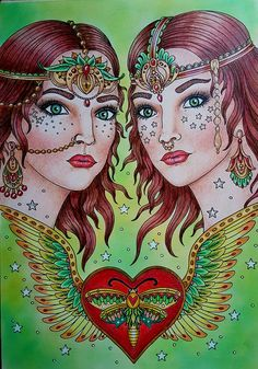 Twins from Tillsamans by Hanna Karlzon coloured by Debbie Harby #hannakarlzon #adultcoloring #coloringbook #Tillsamans #coloringforadults