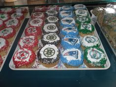 Boston sports cupcakes from Koffee Kup Bakery in Springfield, MA.    Football Birthday cake photos. The best football cakes on Pinterest and the best football cakes on the web! Football cake ideas such as Football Stadium cakes, football field cakes, football helmet cakes, and football logo cakes. #football #cakes #gifts