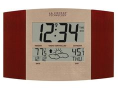 La Crosse Technology WS-8157U-CH-IT Atomic Clock with Outdoor Temperature and Weather Forecast: http://www.amazon.com/La-Crosse-Technology-WS-8157U-CH-IT-Temperature/dp/B0000VYIZM/?tag=utilis-20