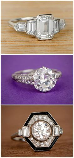 533874b77923 Three very different antique engagement rings from Estate Diamond Jewelry.  Bijoux Argent, Bagues,