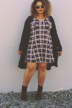 www.livingdoll.la // Plaid Sophie Skater Dress // plus size clothing