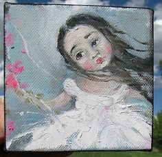 Precious little girls my favorite artist Karen Milstein is painting. Her work appears on eBay and Etsy! Love her art.
