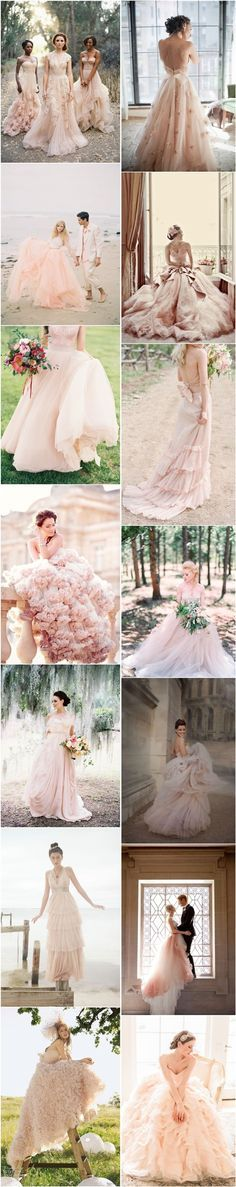 15 Sweet Peach and Blush Wedding Dresses | http://www.deerpearlflowers.com/15-sweet-peach-blush-wedding-dresses/