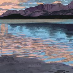 Eva Bartel, watercolour, Evening, Lower Kananaskis Lake, detail Watercolor Landscape Paintings, Watercolour, Mountains, Detail, Artist, Nature, Travel, Pen And Wash, Watercolor Painting