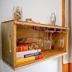 Custom wine crate wine glass rack #wine #cookbooks #floatingshelf #interiordesign #vino #crate #recreate #customdesign #interiors #kirodesign