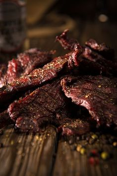 Smoke this hearty Peppered Beef Jerky recipe low and slow then sink your teeth…