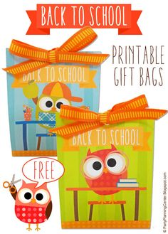 FREE Printable Back 2 School Gift Bags + Cupcake Toppers and Wrappers | These adorable, colorful owls are ready to get back to school! | Printables include matching foldable one-sheet gift bags and color-coordinated cupcake toppers and wrappers.  #Back2School #BacktoSchool #BacktoSchoolPrintables #GiftBags  #BacktoSchoolIdeas #CupcakeIdeas #CupcakeToppers #CarlaChadwick Fun Games For Kids, Indoor Activities For Kids, Back To School Party, School Parties, Printable Designs, Free Printable, School Cupcakes, Paper Crafts Origami, Kids Party Themes