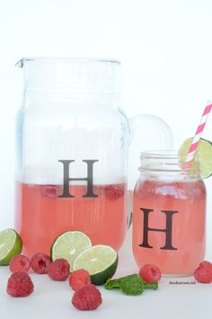 Raspberry Lemonade recipe. Perfect for summer! Great for summer parties.