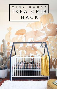 $20 Tiny House IKEA Crib Hack | Woodland Baby Nursery Ideas #diynursery #diybabyroom #nursery #babyroom #vintagerevivals