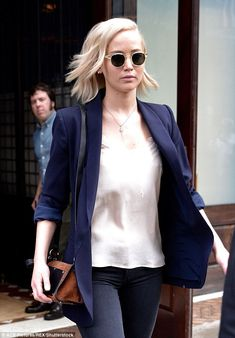 62fa75d20fd Jennifer Lawrence softens a blazer with a silk cami top