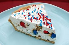 Star Spangled Pie  INGREDIENTS  1 1/4 cups Keebler® Chips Deluxe® Rainbow Bite Size cookies  1 package (8 oz.) cream cheese, softened*  1/3 cup sugar  1 teaspoon lemon juice  1 tub (8 oz.) frozen non-dairy whipped topping, thawed  1 Keebler® Ready Crust® Graham Pie Crust  Red, white and blue sprinkles