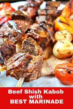 Shish Kabob with the best beef shish kabob marinade. A Middle Eastern beef shish kebabs with a special family recipe. Beef Kabobs In Oven, Beef Kabob Marinade, Beef Kabob Recipes, Pork Rib Recipes, Grilling Recipes, Cooking Recipes, Steak Kabobs, Skewers, Shish Kebab
