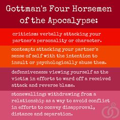 """Beware of """"The Four Horsemen"""" in your relationship. Gottman Marriage & Family Therapy Get the best tips and how to have strong marriage/relationship here: Relationship Therapy, Marriage Relationship, Strong Marriage, Relationship Problems, Relationship Insecurity, Relationship Videos, Relationship Tattoos, Marriage Tips, Gottman Method"""