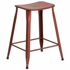 24'' High Distressed Kelly Red Metal Indoor-Outdoor Counter Height Stool, ET-3604-24-DISRED-GG | RestaurantFurniture4Less.com