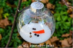 "Melted Snowman Ornament:  Epsom salt, felt nose,   The eyes and mouth peppercorns ""rocks"""