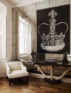 An Antique Mirror wall opens up your space. You can do it yourself using the Amy Howard At Home Antique Mirror Kit - walls are GREAT. The rest? Floor Design, House Design, Crown Painting, Decoracion Vintage Chic, Deco Design, Design Design, Modern Design, My New Room, Elle Decor