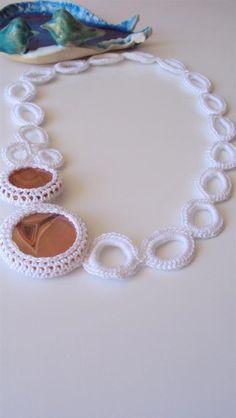 Asymmetrical Crochet Necklace  Bridal Jewelry in Peach by sapti, $42.00