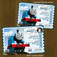 Thomas Train Invitation - Thomas and Friends Printable Birthday Invitation (Available in Red and Blue) - Thomas Train Birthday Ticket. $10.00, via Etsy.