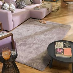 Soft Tufted Purple Rug Tom Tailor Rug Size: Rectangle 85 x Grey Shag Rug, Shaggy Rug, Silver Grey Rug, Black And Grey Rugs, Toms, Modern Color Palette, Purple Area Rugs