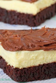 Easy Brownie Bottom Cheesecake with Chocolate Frosting Recipe ~ Says: This recipe is so easy and yet each time I make it everyone goes crazy over it.