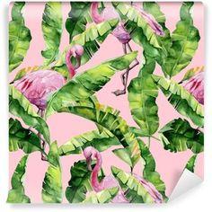Vinyltapete Tropische Blätter, dichter Dschungel. Bananenpalme verlässt nahtlose Aquarellillustration von tropischen rosa Flamingovögeln. trendy Muster mit tropischem Sommerzeitmotiv. exotischer Hawaii-Kunsthintergrund.