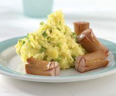 Erbsen-Stampfkartoffel mit Würstchen