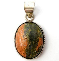Sterling Silver Jasper Pendant For Necklace