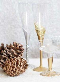 Champagneglas met glitters - Woontrendz