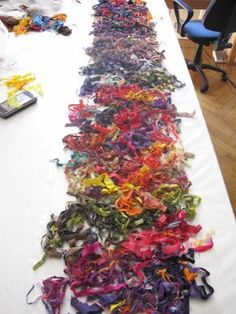 How to turn fabric scraps into a scrap scarf using water-soluble interfacing - Cecilia Koppmann: RAGS