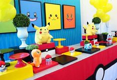 Mesa Pokemon #festapokemon #pokemon #decoracaopokemon #mesapokemon