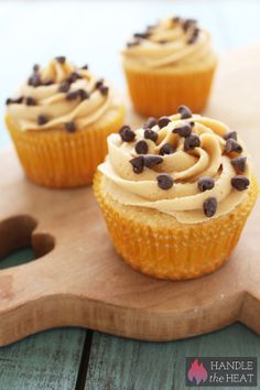 Chocolate Chip Cookie Dough Cupcakes - Handle the Heat