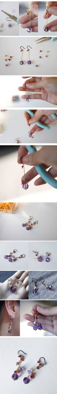 Purple crystal earrings tutorial, beads earrings diy #earrings #jewelry #DIY #tutorial