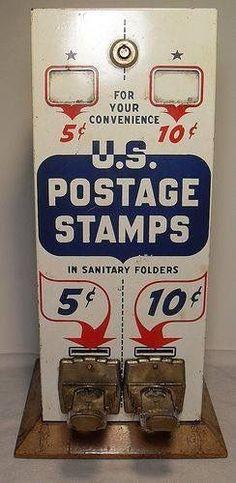 Vintage U.S. postage stamp machine with vintage prices.