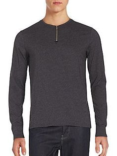 The Kooples Long Sleeve Cotton & Lamb Leather Top - Grey - Size L
