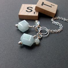 Aquamarine nugget charm pastel watery blue by ShinyTinyThings