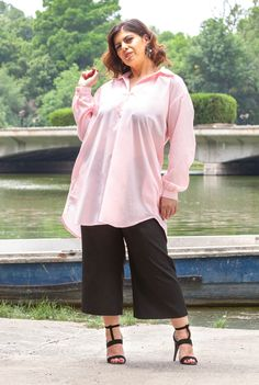 Camasa lunga roz din bumbac SNK PLUS 03 - AMA Fashion Bell Sleeves, Bell Sleeve Top, Ruffle Blouse, Plus Size, Women, Fashion, Moda, Women's, Fashion Styles