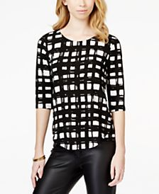 Bar III Printed Crepe Top, Only at Macy's