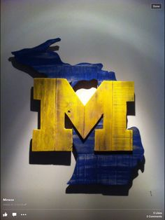 Must make...GO BLUE! University Of Michigan Logo, State Of Michigan, Superhero Logos, Chevrolet Logo, Etsy, Creative, Home Decor, Flag, Homemade Home Decor