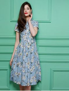 Lovely Me Floral Print Retro Vintage Style Midi Dress