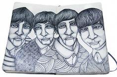 #moleskine #sketchbook - The Beatles: contributed by Prima Arya