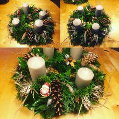 Christmas decorations, advent wreath 2016 N2 Christmas Wreaths, Christmas Decorations, Table Decorations, Holiday Decor, Advent Wreath, Fun, Home Decor, Christmas Garlands, Homemade Home Decor