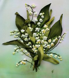 Ribbon embroidery lily-of-the-valley