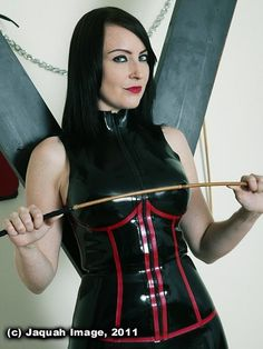 Miss Jessica Wood - Red and black latex dress with a cane