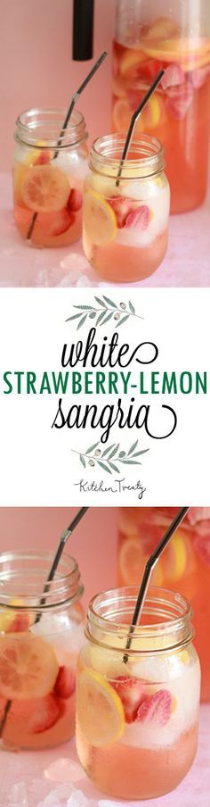 Strawberry-Lemon Sangria White Strawberry-Lemon Sangria - This recipe would be perfect with a Missouri dry Vignoles white wine!White Strawberry-Lemon Sangria - This recipe would be perfect with a Missouri dry Vignoles white wine! Party Drinks, Cocktail Drinks, Cocktail Recipes, Alcoholic Drinks, Margarita Recipes, White Wine Cocktail, Fruit Party, White Wine Punch, Wine Parties